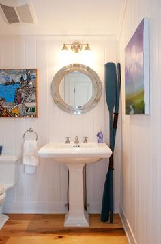 Downstairs nautical bathroom - that mirror!