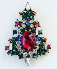 Vintage Rhinestone Red Glass Cabachon 6 Candle Christmas Tree Pin Brooch