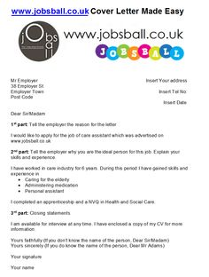 Cover letter made easy with www.jobsball.co.uk simple Cover Letter Template. Just 3 parts to it