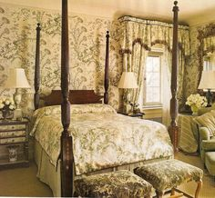 Scalamandre Pillement toile wallpaper and silk coverlet. Interior Design uncredited