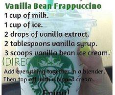 How to Make Your Favorite Starbucks Drink at Home Vanilla .How to Make Your Favorite Starbucks Drink at Home Vanilla bean frapvanilla bean frappuccino ❤️Starbucks Vanilla Bean Frappuccino Recipe! Healthy Starbucks Drinks, Starbucks Secret Menu Drinks, Yummy Drinks, Starbucks Hacks, Starbucks Order, Vanilla Bean Frappuccino Recipe, Starbucks Mocha Frappuccino Recipe, Homemade Frappuccino, Vanilla Milkshake
