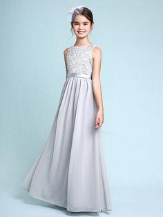 Lanting novia Hasta el Suelo Raso / Encaje Vestido de Dama de Honor Junior Funda…