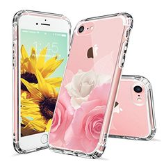 iPhone 7 Case, iPhone 7 Case for Girls, MOSNOVO Floral Roses Printed Flower Clear Design Transparent Plastic Hard Back Case with Soft TPU Bumper Gel Protective Case Cover for Apple iPhone 7 (4.7 Inch)