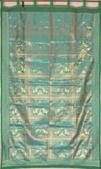 """Teal Elephant Pair Brocade Curtain - Stylish Lined Indian Window Panel 82"""""""