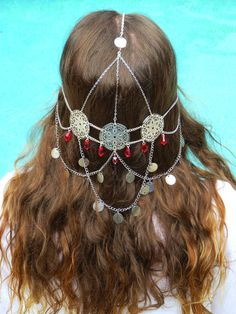 Moon Light Maiden Headpiece - Bohemian - Wedding - Priestess - Ruby Red Crystal beads and recycled materials <3