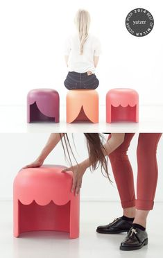 PLAYMOBILIA by Tania da Cruz.  A series of three stools that takes inspiration from the funny wigs of the famous toys for children.