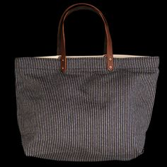 UNIONMADE - Stanley & Sons - Full Size Tote in Grey and Blue Stripe
