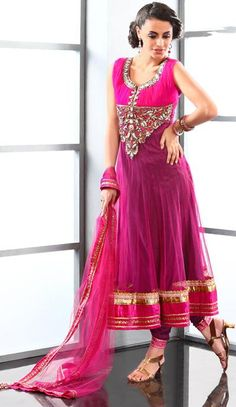 $179.6 Pink Net Stone Work Long Anarkali Salwar Kameez 22955