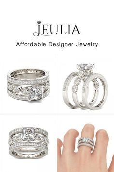 3PC Princess Cut Created White Sapphire Weddings Set - Jeulia Jewelry