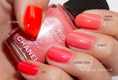The Beauty Look Book: Chanel Le Vernis Shades in Peaches & Corals: Miami Peach, Starlet, Distraction, Lilis and Holiday