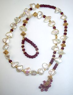 Ruby Jewelry Ruby Pearl Lariat Necklace Gold Vermeil Gemstone Keishi Pearl Handcrafted Luxury Fashion