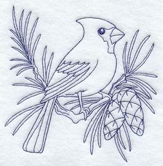 """Cardinal (Bluework) Product ID: D9635 Size: 4.85""""(w) x 4.85""""(h) (123.2 x 123.2 mm) Color Changes: 1 Stitches: 5741 Colors Used: 1"""