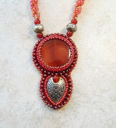 Bead embroidery pendant necklace Natural agate Crochet rope