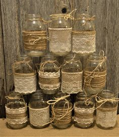 Bridal Shower Decorations Wedding Centerpieces Burlap and Lace Sleeves No Glasses Rustic Mason Jars Baby Boy Shower Decorations - New Site
