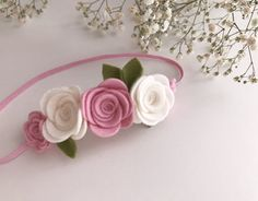 Felt flowercrown floral leaves pink and white baby headbands