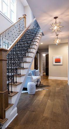The hardwood floors were prefinished from Avienda. Color: Aged Oak. Species: White Oak. Width 7.5″.