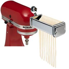 Kitchenaid KPRA Pasta Roller and cutter for Spaghetti and Fettuccine Kitchenaid Mixer Parts, Kitchenaid Artisan Stand Mixer, Kitchen Gadgets, Kitchen Appliances, Kitchen Stuff, Mixer Accessories, Spaghetti, Pasta Maker, Thing 1