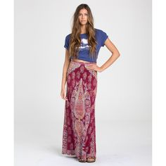 Billabong Women's Stargazer Maxi Skirt ($50) ❤ liked on Polyvore featuring skirts, black cherry, boho maxi skirt, maxi skirt, black maxi skirt, black skirt and patterned maxi skirt