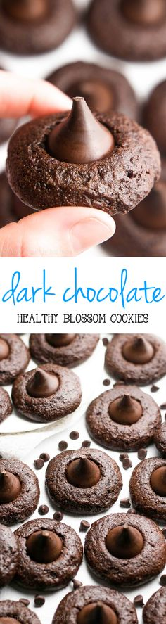 Healthy Dark Chocolate Blossoms recipe by Amy's Healthy Baking -- SO good & only 61 calories! These skinny cookies don't taste healthy at all! Healthy Cookie Recipes, Healthy Cookies, Healthy Baking, Healthy Desserts, Just Desserts, Baking Recipes, Delicious Desserts, Yummy Food, Healthy Dark Chocolate