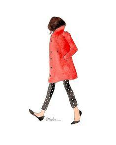 Fashion Illustration Art Print: Polka Dot Steps by AThingCreated