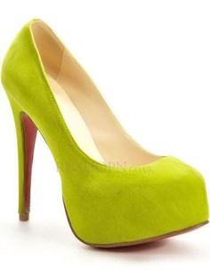 Stylish Light Yellow Glace Kid Leather 5 1/2 High Heel Shoes For Women