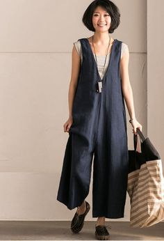 Blue V-Neck Causal Cotton Linen Oversize Overalls Women Clothes – Fantasy… - Hosen Cotton Linen, Cotton Fabric, Overalls Women, Blue V, Simple Dresses, Plus Size Fashion, Clothes For Women, My Style, Jeans