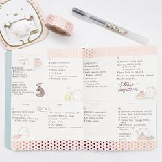 "lycheestudy: ""bujo spread — I'm in love with this theme! The stickers and washi tape match so well. I might be switching over to a dotted muji notebook for my bujo starting December. You can buy them and the molang diary..."