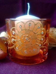 Porta Candele Arancione in Vetro con Decorazione Henné in Oro di scintilledicolore su Etsy