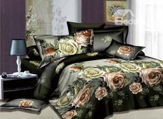 #10489467 Visual Pink Rose Printed 4 Piece Bedding Sets (TO ORDER CLICK BLUE TITLE BELOW) by sensationaltreasures