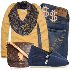 Mustard Sweater, Patterned Navy Infinity Scarf, Hollister Skinnies and Navy TOMS (minus LV Purse and Dollar Sign Earrings for me)