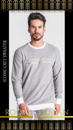 Highlight on the new Iconic Gray Sweater 🔥 Available in all sizes at rooneroman.com Gray Sweater, Men Sweater, Roman Man, Urban Fashion, Soft Fabrics, Highlight, Contrast, Product Description, Grey