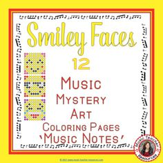 REINFORCE MUSIC THEORY NOTE NAMES with these SMILEY FACES MUSIC ACTIVITIES: Music Mystery Art: Color by Music Notes. Excellent for your Music Lessons - review, earlier finishers or subs **********************************************************************