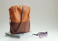 Minimalist sturdy leather tote bag  vegetable tanned by rensz, $148.00