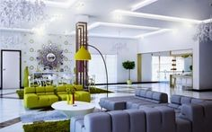 false ceiling designs for living room: elegant living room with LED ribbons