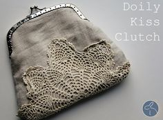 Make this linen & doily Shabby clutch tutorial and 45 BEST Shabby Lifestyle Decor & Accessory DIY Tutorials EVER!! From MrsPollyRogers.com