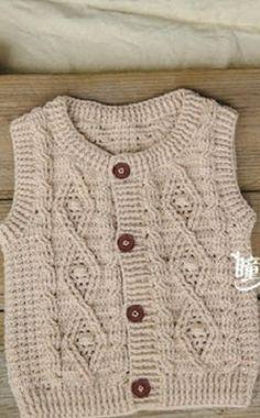 Crochet Pattern The Tully Tunic Gilet Crochet, Crochet Cable, Cable Knit, Baby Knitting Patterns, Crochet Patterns, Diy Crafts Knitting, Baby Pullover, Baby Vest, Crochet Baby Clothes