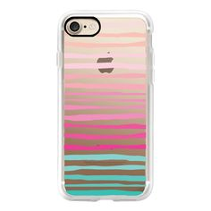 Organic Chic Stripes in Pink and Turquoise Ombre Transparent Case 034... (£32) ❤ liked on Polyvore featuring accessories, tech accessories, iphone case, pink iphone case, iphone cases, slim iphone case, transparent iphone case and iphone cover case