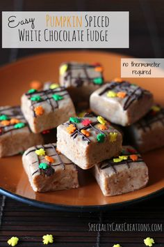 The flavors and spices of fall blended into easy to make white chocolate fudge - a great reason to open that first can of pumpkin puree.