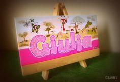 Questo è un regalo speciale per la piccola Giulia!!! ecco la tua stampa su tela personalizzata de I Bambes pronta da appendere.....   #benvenuta #bambes #regalospeciale #madeinitaly