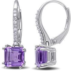 Miadora Sterling Silver Amethyst and 1/10ct TDW Diamond Dangle... ($97) ❤ liked on Polyvore featuring jewelry, earrings, purple, sterling silver jewelry sets, diamond jewelry, diamond dangle earrings, purple earrings and amethyst earrings