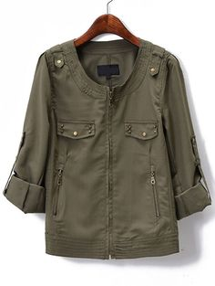 Army Green Long Sleeve Zipper Epaulet Jacket