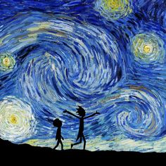 Rick and Morty Print Rick and Morty Art The Starry Night Van Gogh Van Gogh Rick and Morty Get Schwifty Rick and Morty Painting Poster Desenhos Van Gogh, Art Sketches, Art Drawings, Rick And Morty Tattoo, Ricky And Morty, Rick And Morty Poster, Van Gogh Paintings, Hippie Art, Vincent Van Gogh
