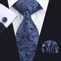 With the days of suits, shirts and office ties coming to an end, it is still possible to look smart and. Suit Combinations, Blue Tapestry, Cufflink Set, Mens Trends, Cool Ties, Tie Styles, Tie And Pocket Square, Pocket Squares, Tie Set