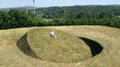 "Tanya Preminger:""Round Balance"", 2008, Soil, grass, 900 x 900 x 260 cm, Saint-Flour, France"