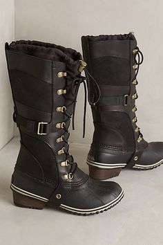 Sorel Conquest Carly Boots #anthropologie  Brown or Black? Brown or Black? Brown. I love the brown.