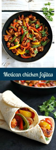 Mexican chicken fajitas, a healthy and delicious meal that is ready in about 15 minutes.