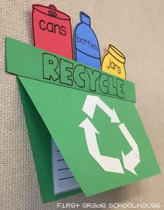 Earth Day craft and writing activity. Students create a Recycle Bin booklet cover and write about Earth Day, recycling or ways to save the earth.