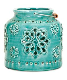 Better not dahlia: We predict this small ceramic lantern in turquoise blue with trend-right lacy, floral cut-outs will disappear quicker than a candle flame on a windy summer evening - Dimensions: 7 See More. Shades Of Turquoise, Bleu Turquoise, Aqua Blue, Turquoise Cottage, Azul Tiffany, Tiffany Blue, Motif Oriental, Ceramic Lantern, Floral Chair