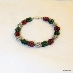 Red, Green, and Silver Christmas Chainmaille Bracelet in Sweet Pea Pattern by ThreePineHill on Etsy