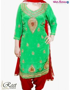 Give yourself a stylish & punjabi look with this Enthralling Green And Maroon Punjabi Suit. Embellished with embroidery work & lace work. Available with matching bottom & dupatta. It will make you noticable in special gathering. For more details whatsapp us: +919915178418